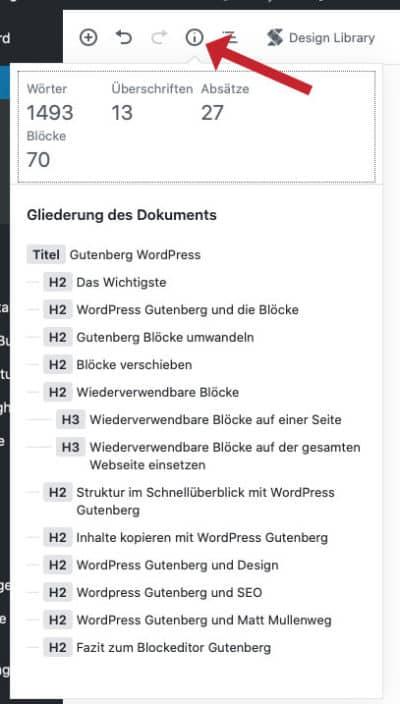 Wordpress Gutenberg Struktur der Seite