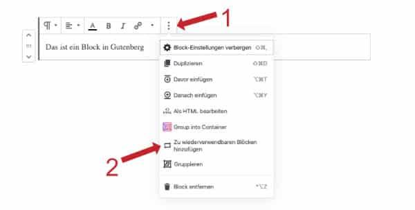 Wordpress Gutenberg wiederverwendbare Blöcke
