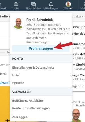 LinkedIn Profil anzeigen